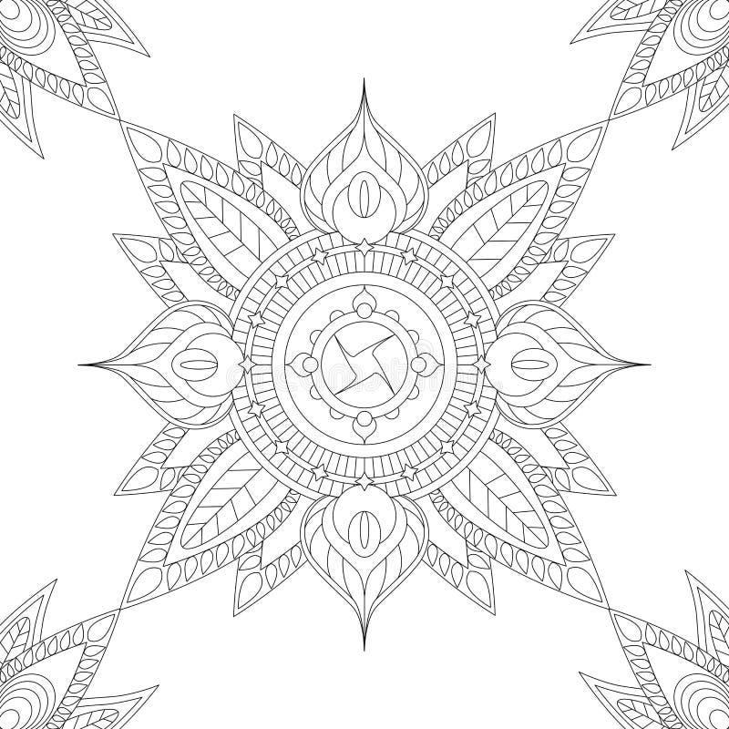 Etnisk mandala med blom- beståndsdelar och sidor, illustration för att färga stock illustrationer