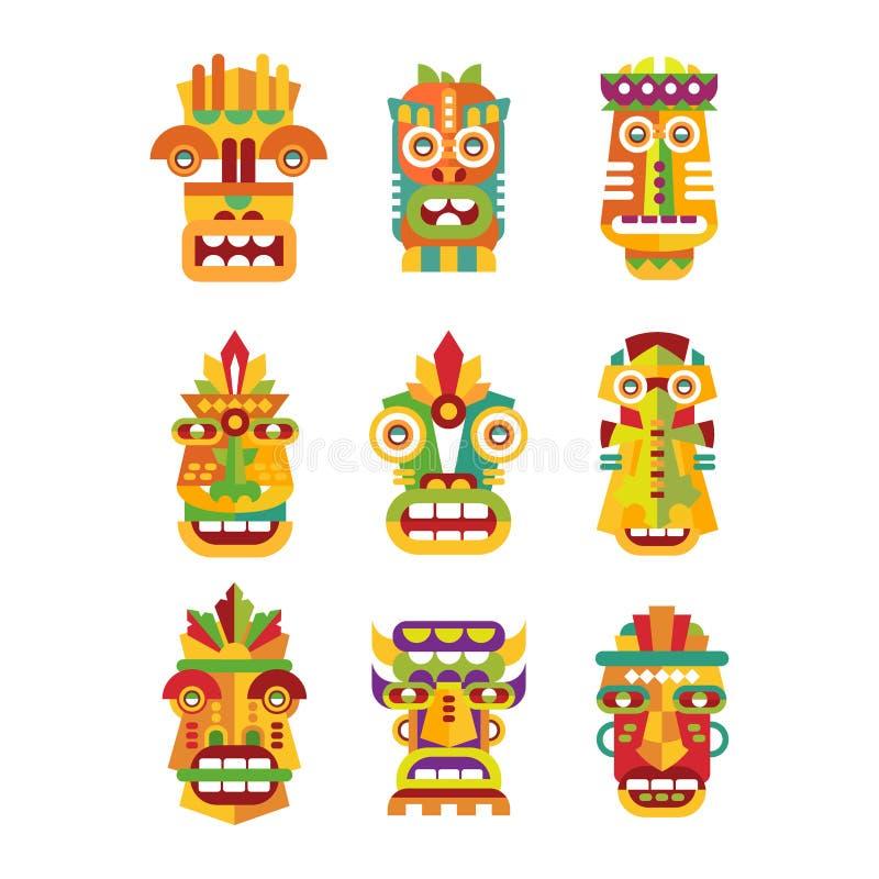 Etnisk maskeringsuppsättning, stam- indier eller afrikanska färgrika maskeringsvektorillustrationer på en vit bakgrund vektor illustrationer