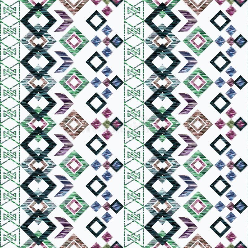 etnisk modell för sömlös ikat Abstrakt bakgrund för textildesign, tapet, yttersidatexturer vektor illustrationer