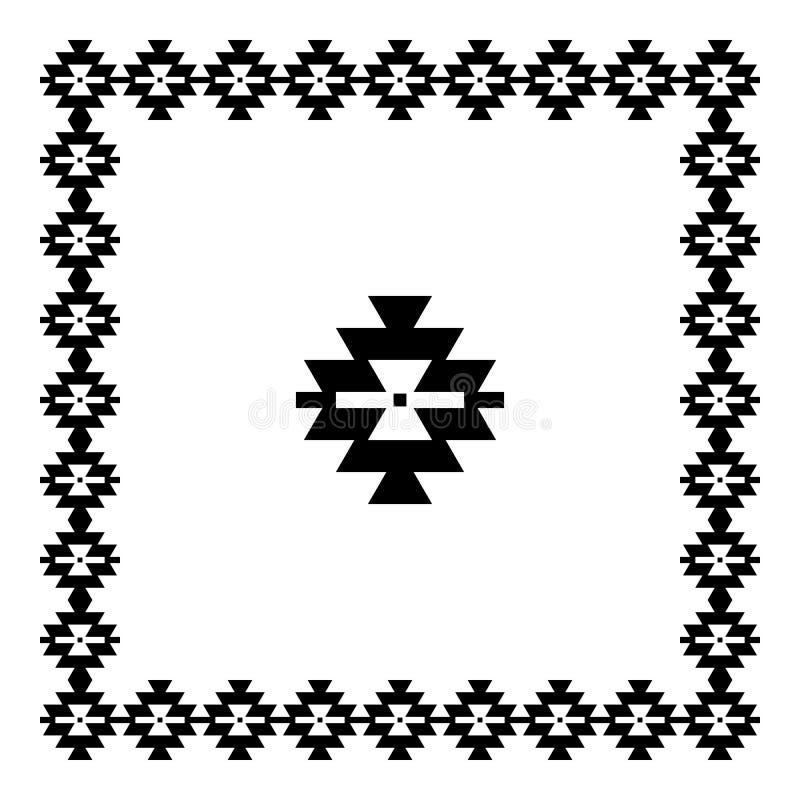Etnisk modell för tappning, serbisk prydnad, svart som isoleras på vit bakgrund, illustration stock illustrationer