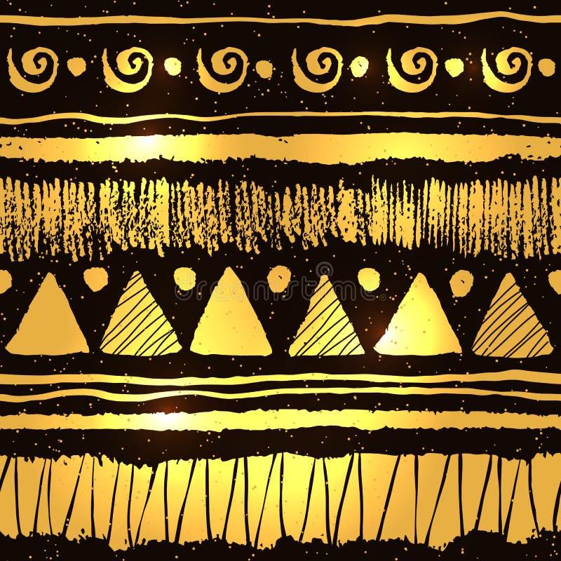 Etnisk modell i guld och svartfärger stock illustrationer