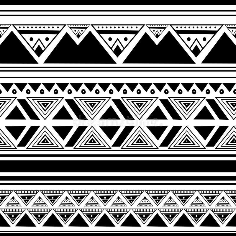 Etnisk modell som drar bakgrund med afrikansk stil för sömlöst utdraget svartvitt färgabstrakt begrepp för hand för tryck och mod stock illustrationer