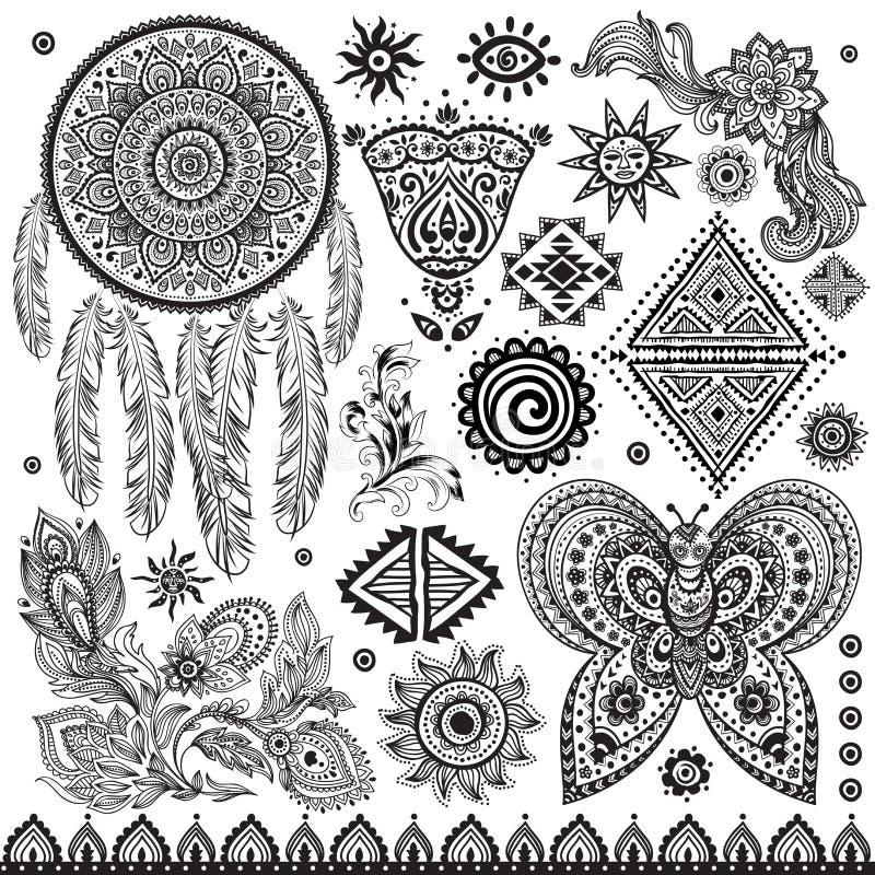 Etnisk modelluppsättning för stam- tappning royaltyfri illustrationer