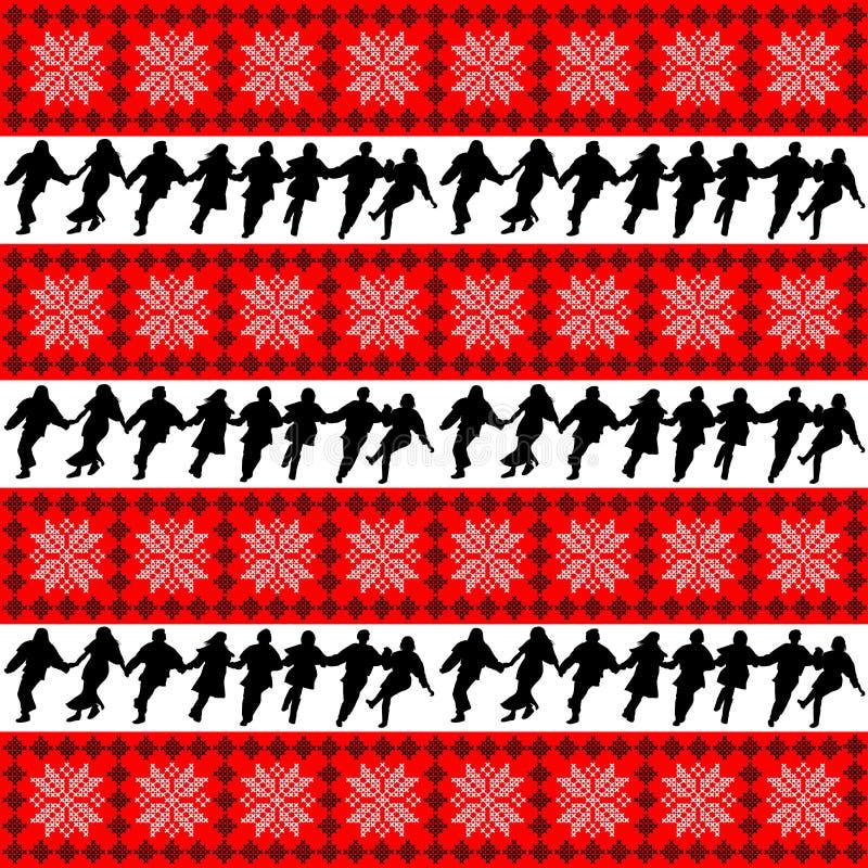 Etnisk motivbakgrund med folkdanshelhetkonturer royaltyfri illustrationer
