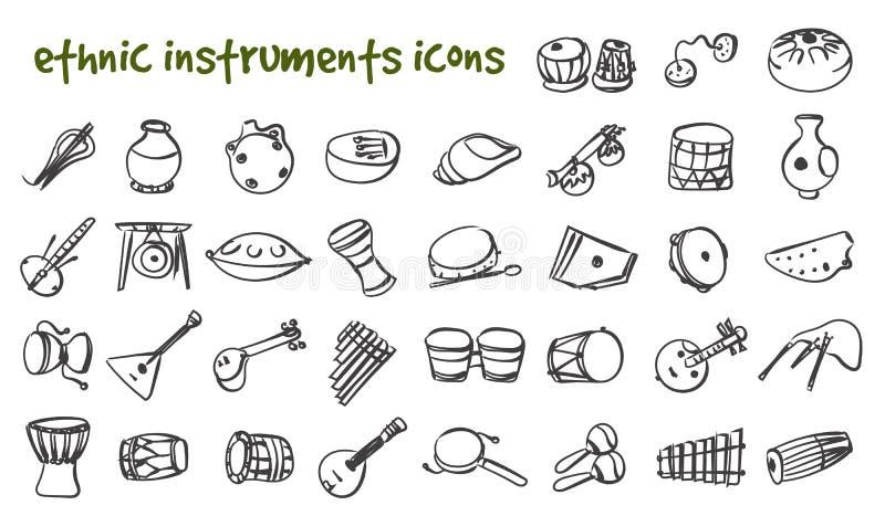 Etnisk musikinstrumentupps stock illustrationer