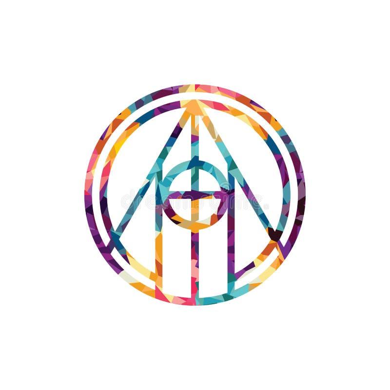 Etnisk mystisk modell med prydnaden för triangelcirkelMandala Ethnic cirkel royaltyfri illustrationer