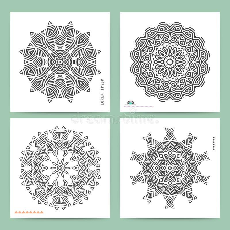 Etnisk mystisk modell med triangeln och cirklar vektor illustrationer