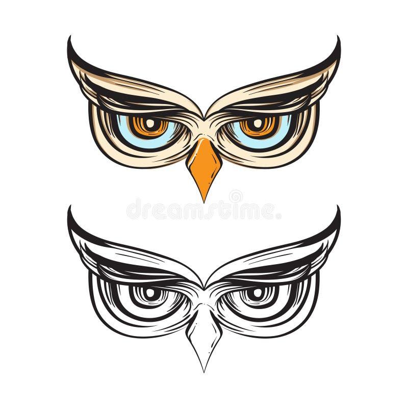 Etnisk Owl Bird Eyes Drawing Wisdom prydnadillustration vektor illustrationer