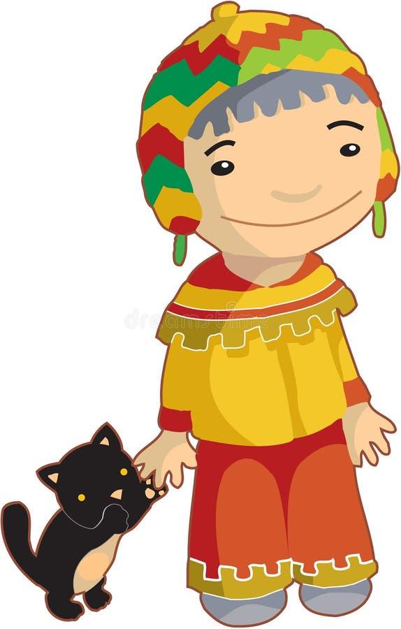 Etnisk pojke för lokal med katten vektor illustrationer