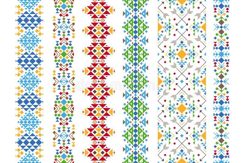 Etnisk prydnad för färg stock illustrationer