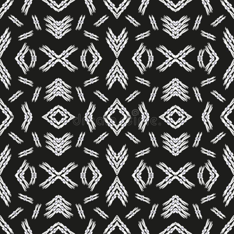Etnisk prydnad för sömlös modelltappning på en svart bakgrundsillustration vektor illustrationer