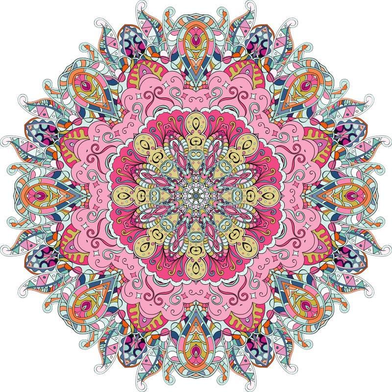 Etnisk prydnad för Tracerymehndi Likgiltigt diskret lugna motiv, användbar klottra färgrik harmonisk design vektor arkivbilder