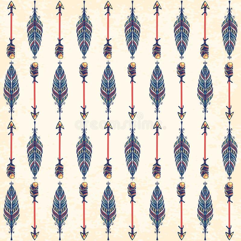 etnisk prydnad seamless modell Boho stil vektor illustrationer