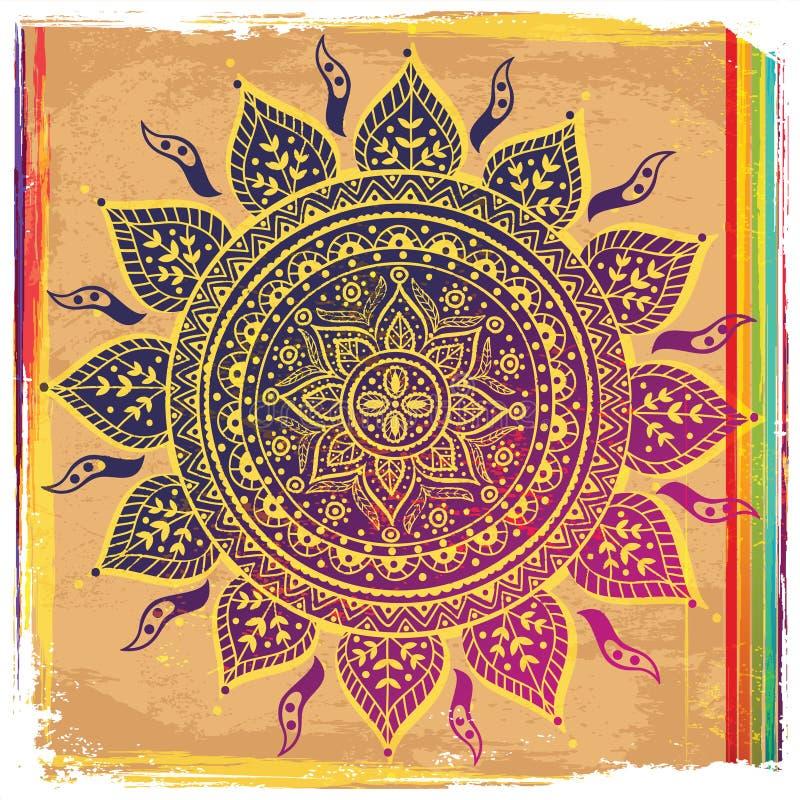 Etnisk purpur prydnad stock illustrationer