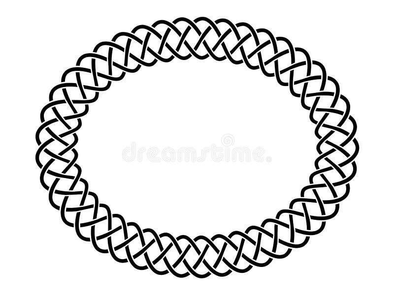 Etnisk ram för svartvit celtic flätad tråd, vektor vektor illustrationer