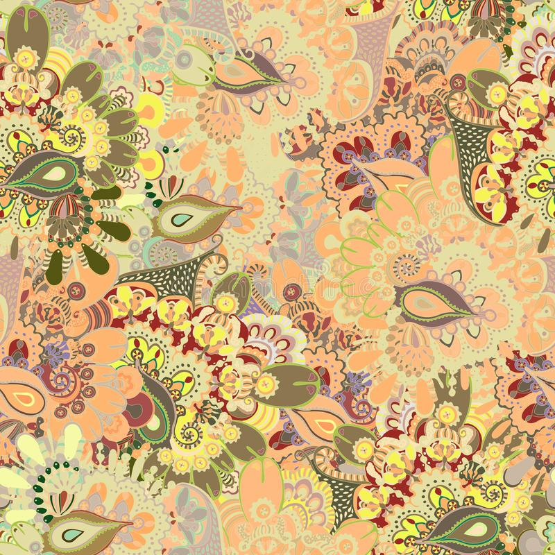 Etnisk sömlös modell för abstrakt beige blom- virvel i klotterstil arkivbild