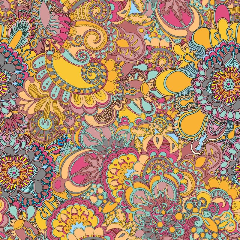 Etnisk sömlös modell för abstrakt blom- virvel i klotterstil arkivfoton