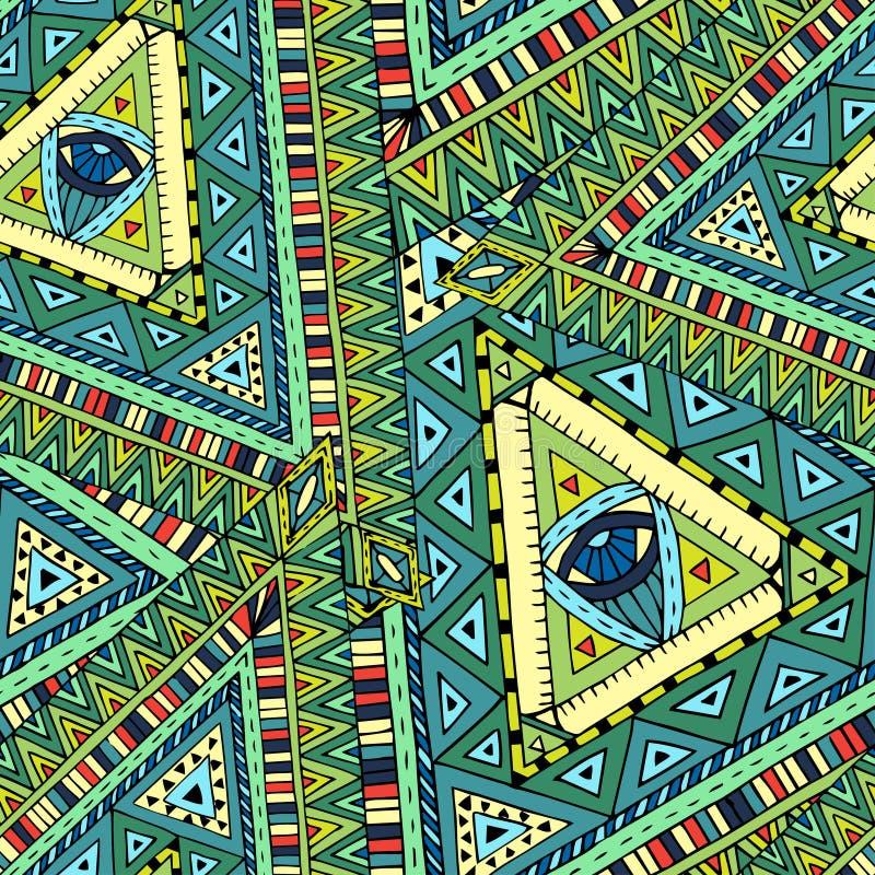 Etnisk sömlös modell för stam- doddle stock illustrationer