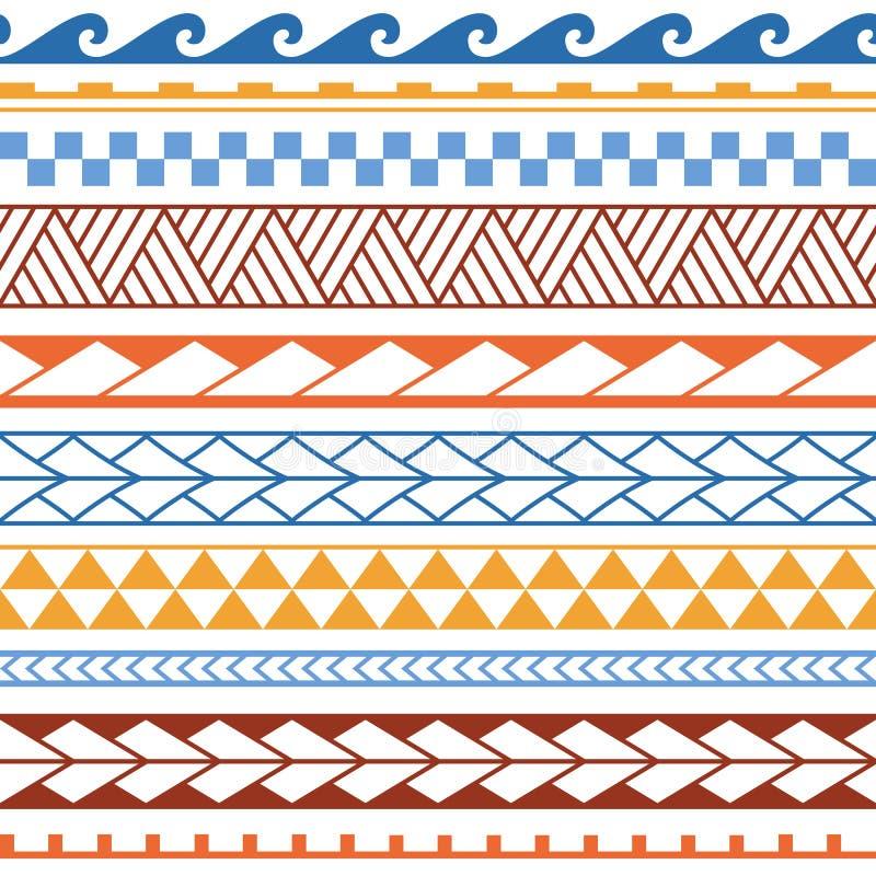 Etnisk sömlös modell för vektor i maori stil Geometrisk gräns med dekorativa etniska beståndsdelar Bl?tt och orange modell royaltyfri illustrationer