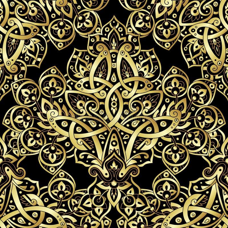 Etnisk sömlös modell i guld och svartfärger royaltyfri illustrationer