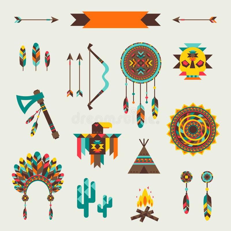 Etnisk sömlös modell i infödd stil stock illustrationer