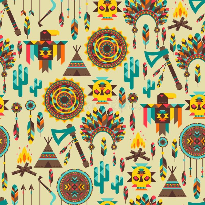 Etnisk sömlös modell i infödd stil royaltyfri illustrationer