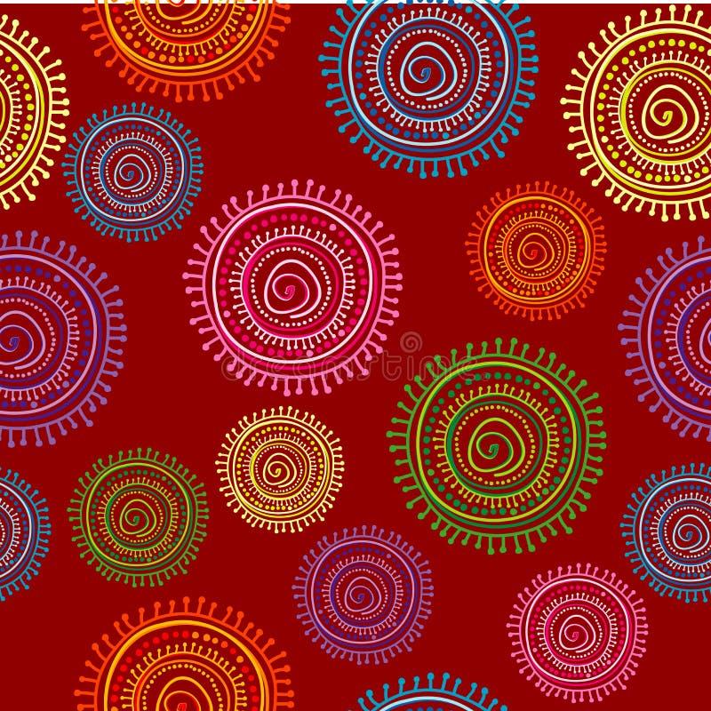 Etnisk sömlös modell i ljus färg med runda former royaltyfri illustrationer