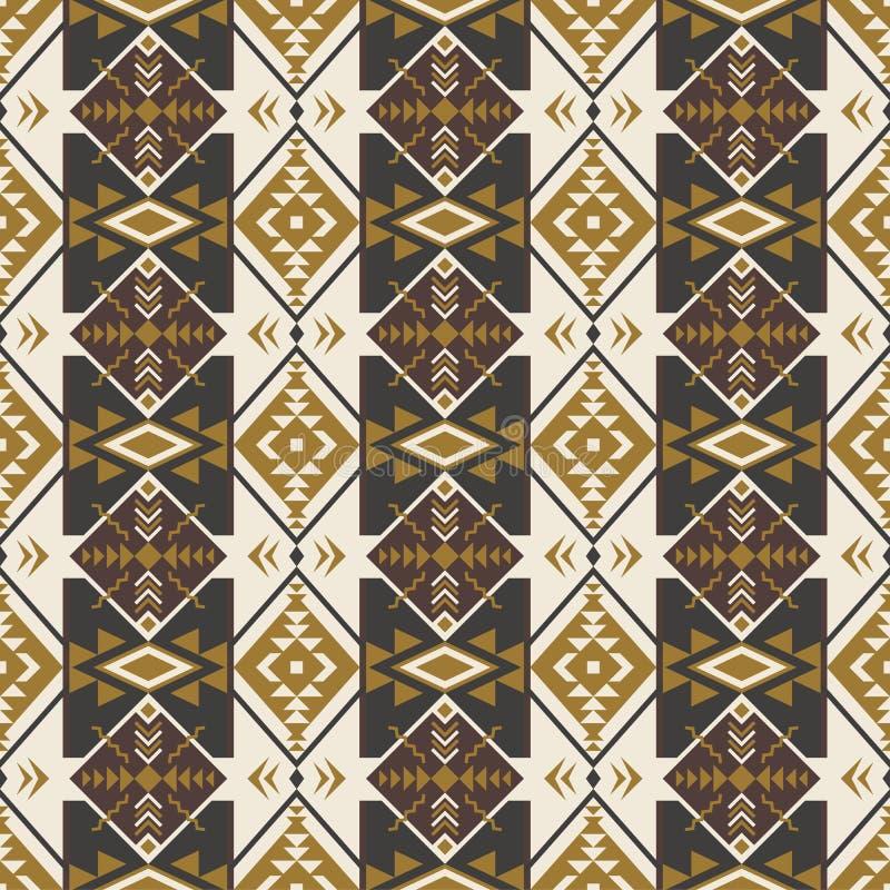 Etnisk sömlös modell med den geometriska prydnaden Aztec navajo stock illustrationer