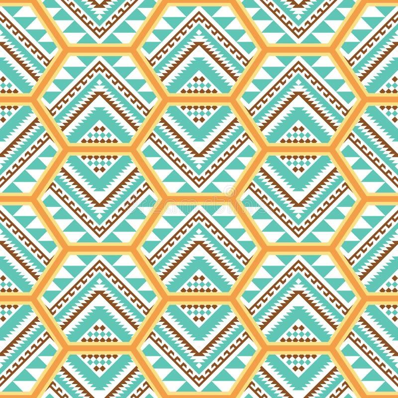 Etnisk sömlös modell med geometriska prydnad- och patchworktegelplattor royaltyfri illustrationer
