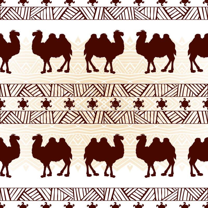 Etnisk sömlös modell med kamel Texturdesign för wallpape stock illustrationer