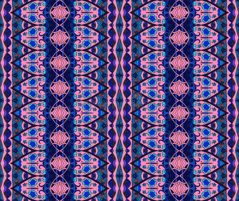 Etnisk sömlös randig modell Vektorbakgrund i blått- och rosa färgsignaler stock illustrationer