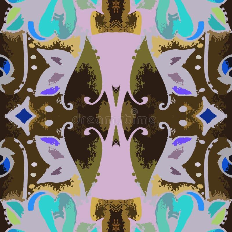 Etnisk sömlös stam- modell Tryck för tyg vektor vektor illustrationer