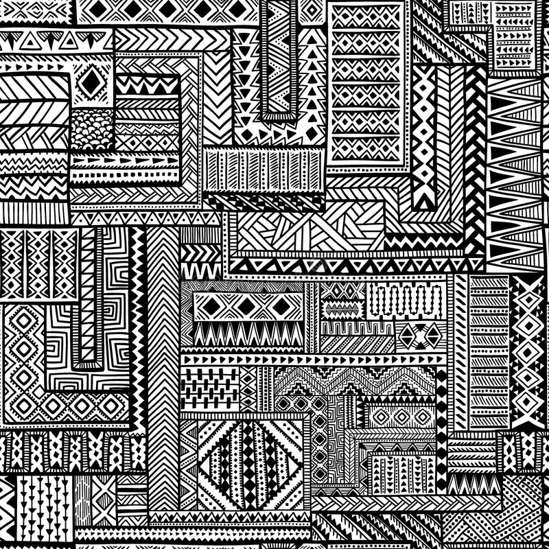 Etnisk seamless prydnad Zentangle modell vektor illustrationer