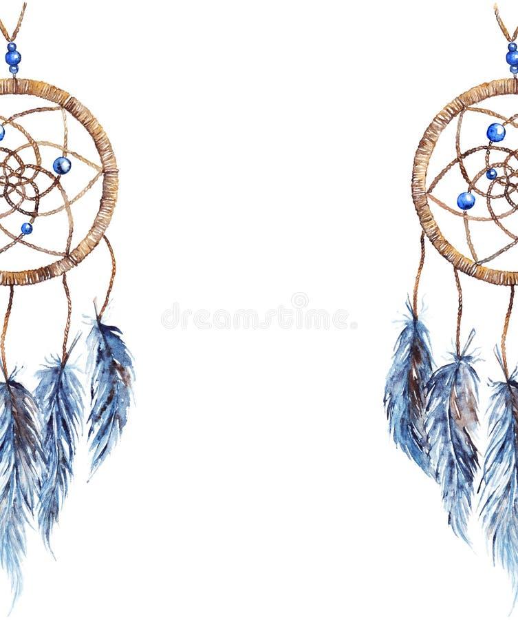 Etnisk stam- hand för vattenfärg - gjord isolerad fjäderdreamcatcher royaltyfri illustrationer