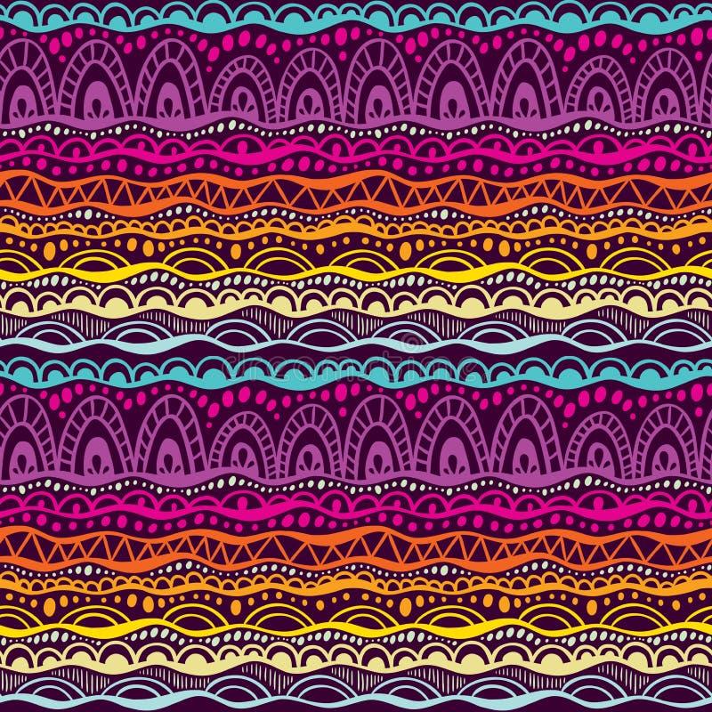 Etnisk stam- sömlös modell Räcka utdragen geometrisk prydnadbakgrund i färger av lilor, rosa färger och apelsinen Klottertextu stock illustrationer