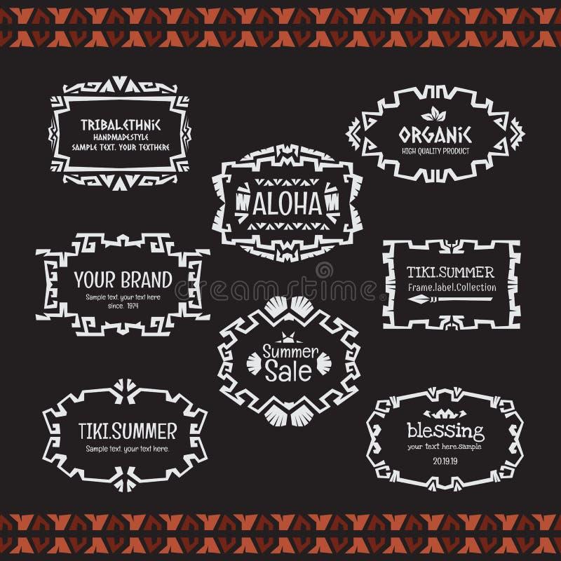 Etnisk stam- samling för stil för vektorramklotter royaltyfri illustrationer