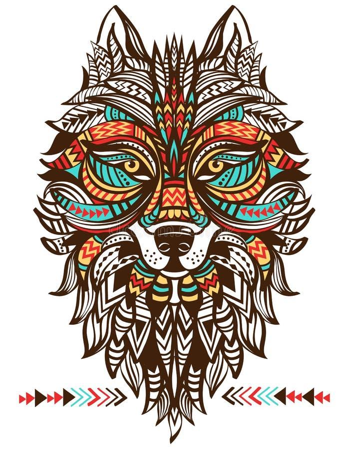 Etnisk totem av en varg Indisk varg stock illustrationer