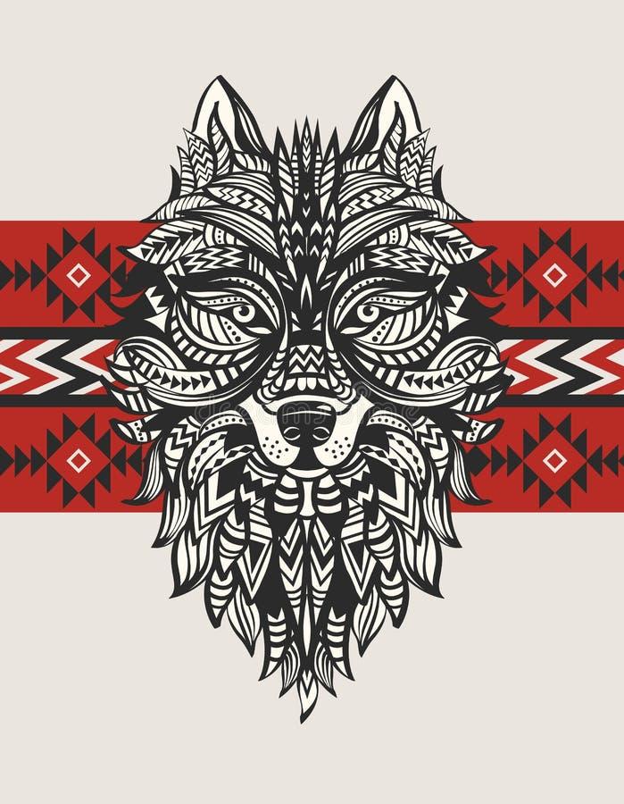 Etnisk totem av en varg Indisk varg En tatuering av en varg med en prydnad Hand tecknad vektorillustration vektor illustrationer