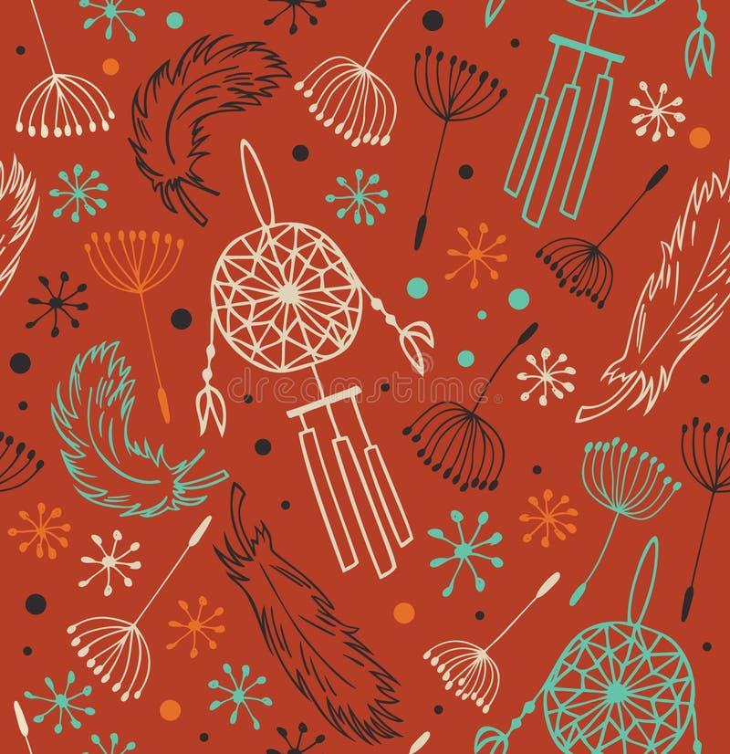 Etnisk utsmyckad modell Sömlös infödd bakgrund med blommor, fjädrar och dreamcatchers vektor illustrationer