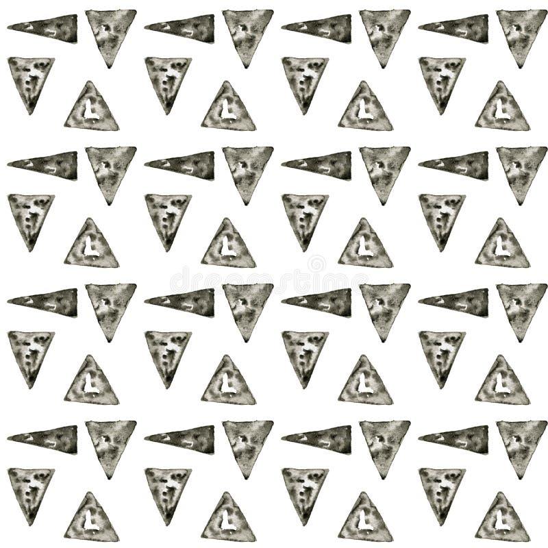 Etnisk vattenf?rgmodell Aztec geometrisk bakgrund f?r mode Hand dragen monokrom modell Modern abstrakt tapet vektor illustrationer