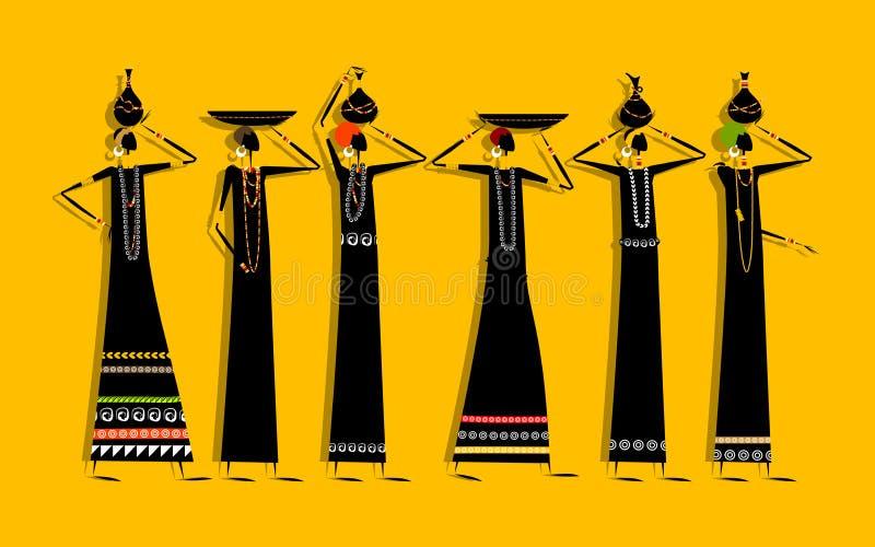 Etniska kvinnor med tillbringare för din design royaltyfri illustrationer