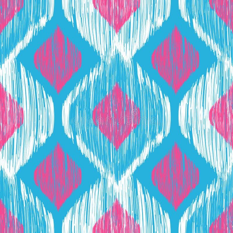 Etniska moderna stam- ikatblått, vit och rosa färger danar den sömlösa modellen Vektorikatbakgrund stock illustrationer