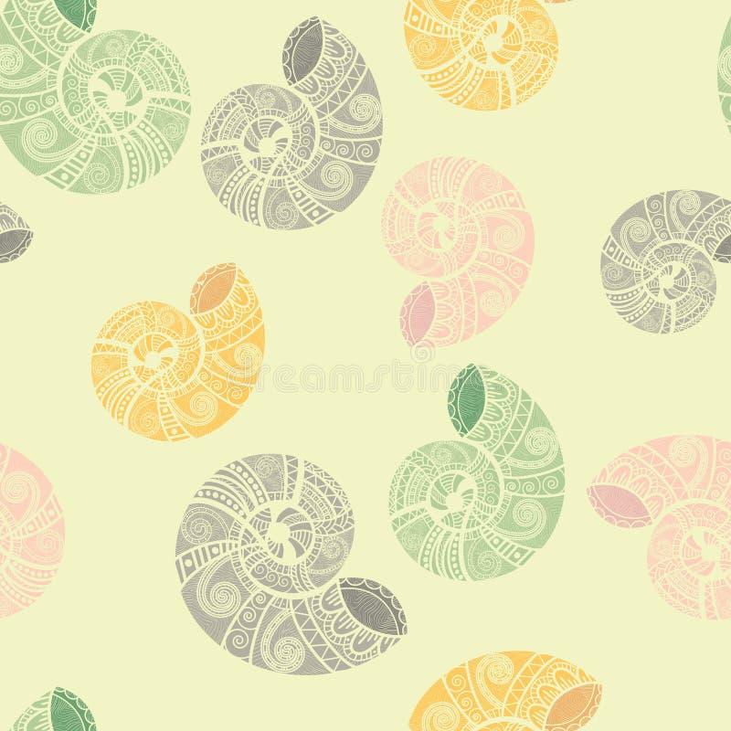 etniska seamless snails för bakgrund stock illustrationer