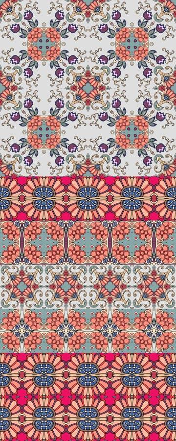 Etniskt dekorativt tryck för tyg med lila tulpanblommor Indier perser, turk, morrocan bevekelsegrunder designen blommar krypsomma stock illustrationer