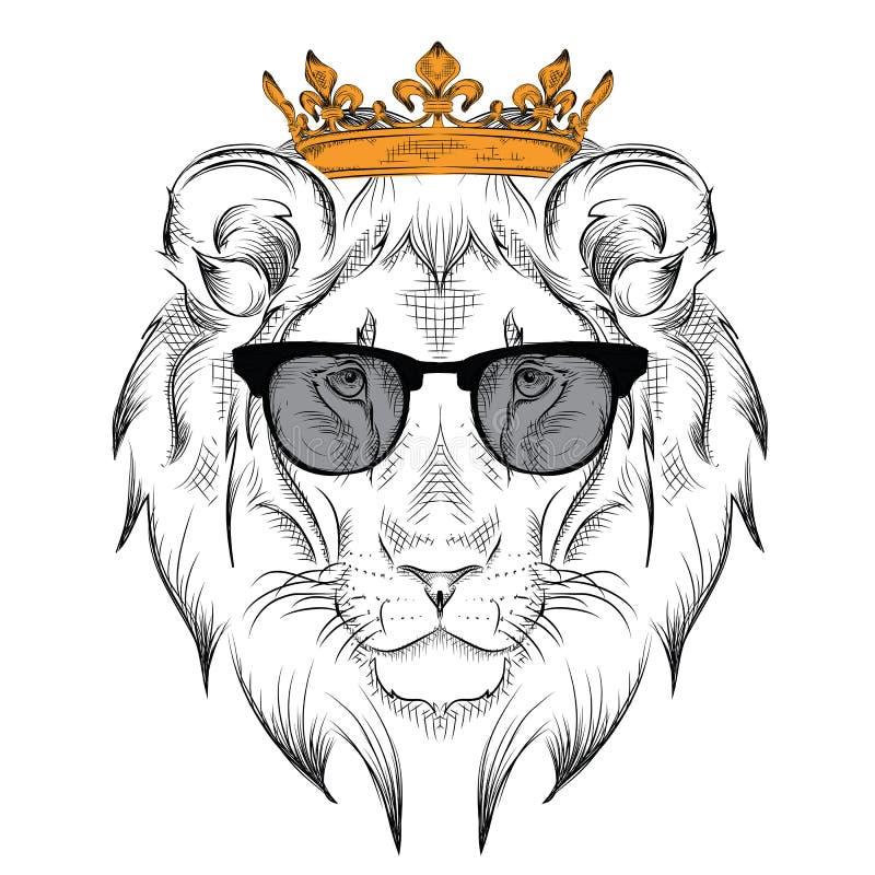 Etniskt handteckningshuvud av den bärande kronan för lejon och i exponeringsglasen stock illustrationer