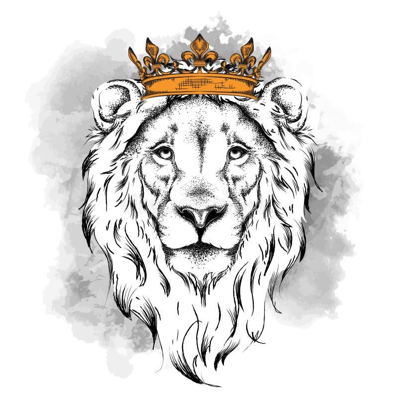 Etniskt handteckningshuvud av den bärande kronan för lejon och i exponeringsglasen Det kan användas för trycket, affischer, t-skj stock illustrationer