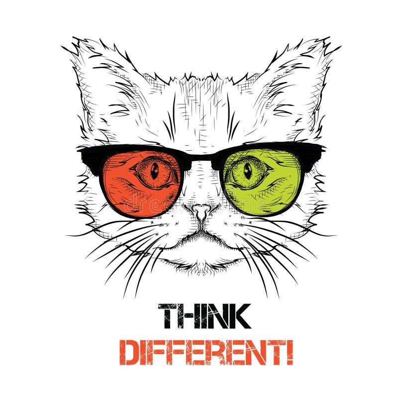 Etniskt handteckningshuvud av katten i de kulöra exponeringsglasen Det kan användas för trycket, affischer, t-skjortor också vekt vektor illustrationer