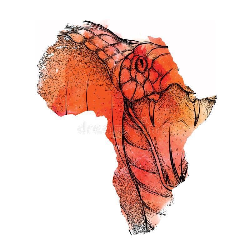 Etniskt handteckningshuvud av konungen Cobra i vektoröversikten av Afrika också vektor för coreldrawillustration Abstrakt bakgrun stock illustrationer