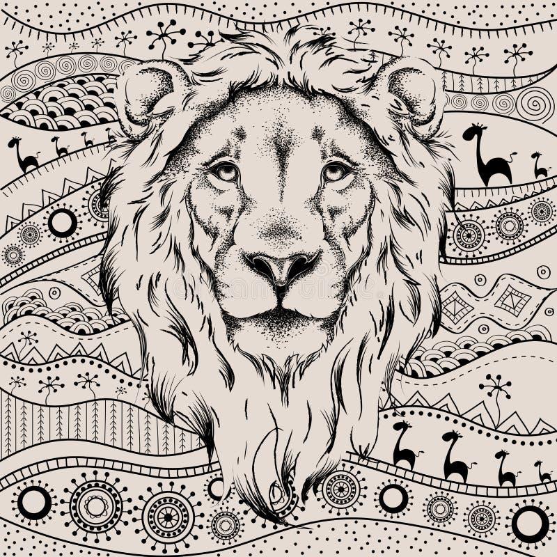 Etniskt handteckningshuvud av lejonet på afrikan hand-dragen ethnomodell totem-/tatueringdesign Bruk för trycket, affischer, t-sk royaltyfri illustrationer