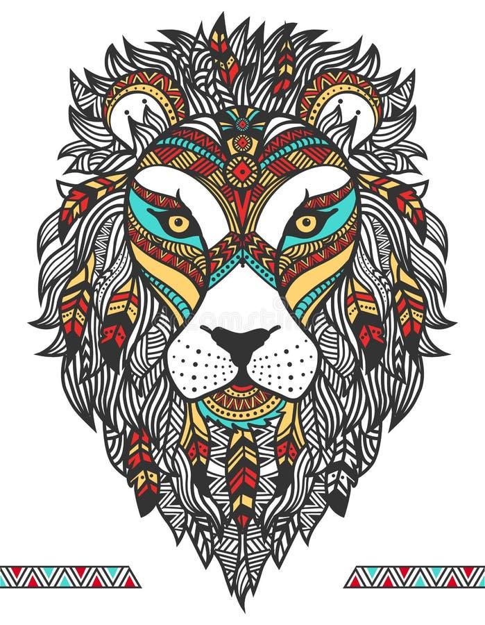 Etniskt lejon En tatuering av ett lejon med en prydnad totem tecknad hand vektor illustrationer
